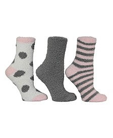 Women's 3 Pack Dot and Stripe Cozy Socks, Online Only