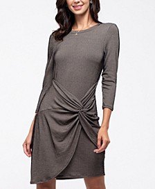 Twist-Front Ribbed Knit Tulip Dress