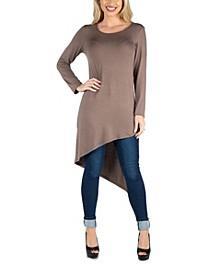 Women Full Length Long Sleeve Asymmetric Hem Top