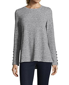 Ribbed Button-Sleeve Sweater