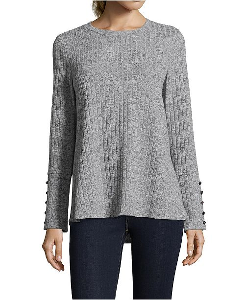 John Paul Richard Ribbed Button-Sleeve Sweater