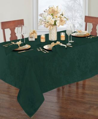 Poinsettia Elegance Jacquard Holiday Tablecloth - 90