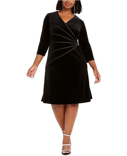 Connected Plus Size Velvet A-line Dress