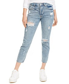 Juniors' Distressed Cropped High-Rise Jeans