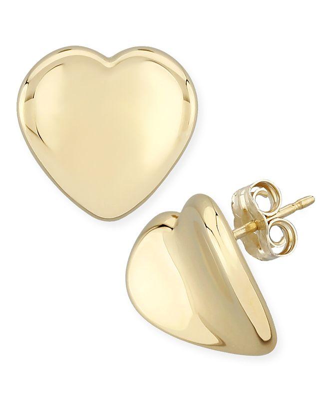 Macy's Dapped Heart Stud Earrings Set in 14k Gold