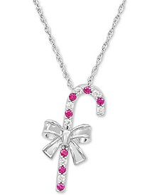 "Lab-Created Ruby (1/6 ct. t.w.) & White Sapphire (1/8 ct. t.w.) Candy Cane 18"" Pendant Necklace in Sterling Silver"