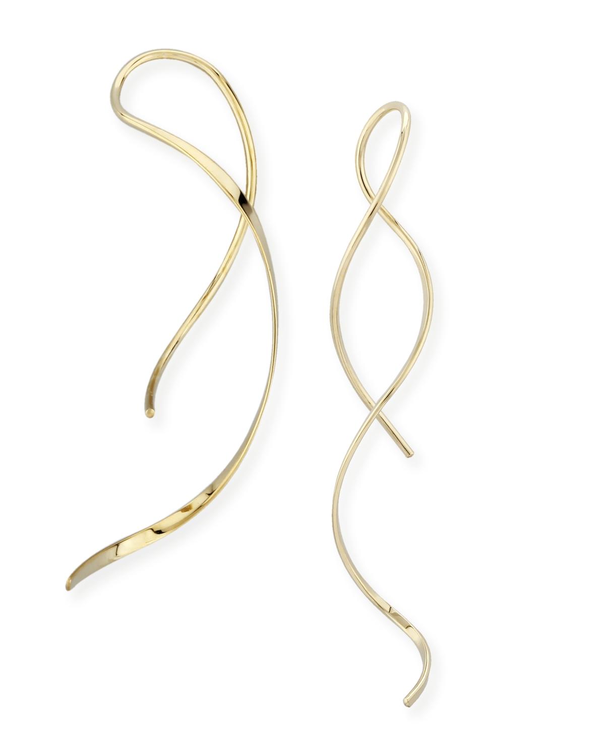Freeform Swirl Threader Earrings Set in 14k Gold