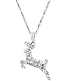 "Lab-Created White Sapphire Reindeer 18"" Pendant Necklace in Sterling Silver"