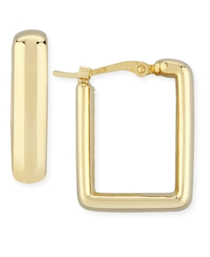 Square Hoop Earrings Set in 14k Yellow Gold