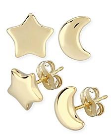 Star & Moon Stud Earrings Set in 14k Yellow Gold (8mm)