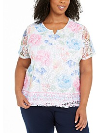 Plus Size Rhinestone And Lace Top