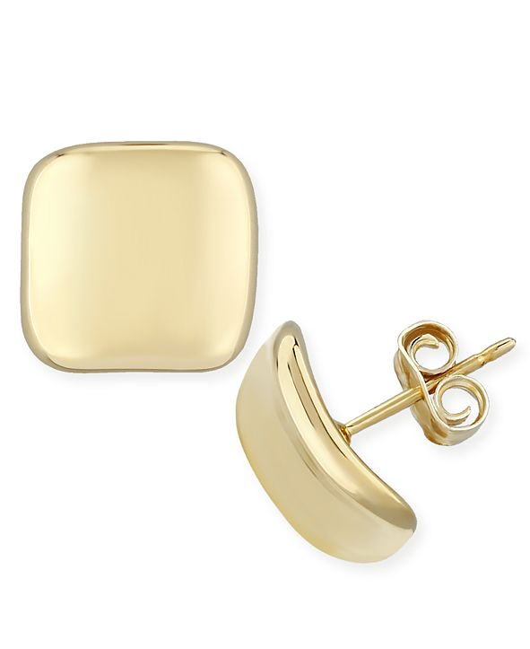 Macy's Dapped Square Stud Earrings Set in 14k Yellow Gold (10mm)