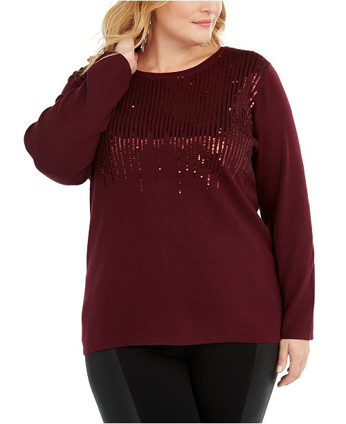 INC International Concepts INC Plus Size Sequin Crewneck Sweater, Created For Macy's