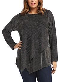 Plus Size Asymmetrical-Hem Knit Top