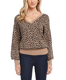 Animal-Print Blouson Sweater