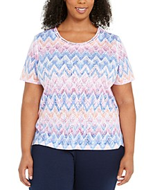 Plus Size Zig Zag Embellished Top