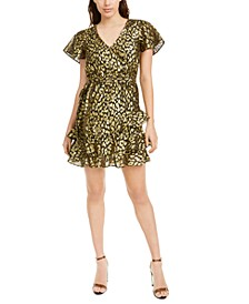 Gold-Foil Animal-Print Mini Dress