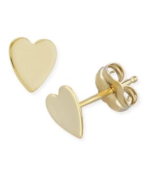 Flat Heart Stud Earrings in 14k Yellow Or White Gold