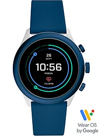Men's Sport HR Blue Silicone Strap Touchscreen Smart Watch 43mm, Powered by Wear OS by Google™