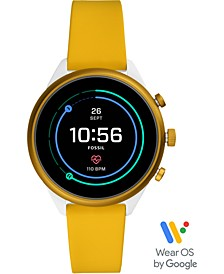 Unisex Sport HR Yellow Silicone Strap Touchscreen Smart Watch 41mm, Powered by Wear OS by Google™