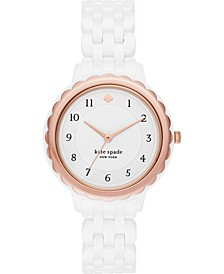 Women's Morningside Scalloped White Ceramic Strap Watch 38mm