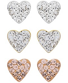 Link Up 3-Piece Set Crystal Heart Stud Earrings in 18K Gold Over Sterling Silver