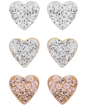 3-Piece Set Crystal Heart Stud Earrings in 18K Gold Over Sterling Silver