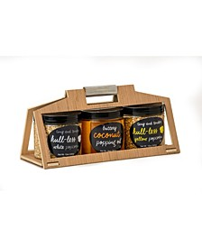 Hull-Less Popcorn and Oil Wooden Crate Set