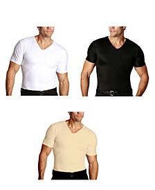 Insta Slim Men's 3 Pack Compression Short Sleeve V-Neck T-Shirts