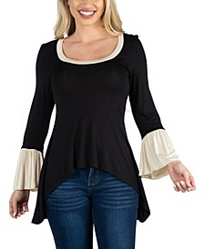 Women Swing High Low Bell Sleeve Tunic Top