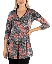 Black And Red V Neck Swing Tunic Top