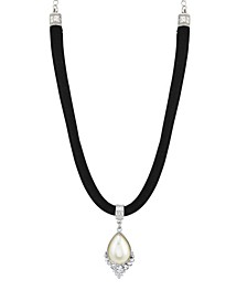 Crystal and Imitation Pearl Teardrop on Velvet Choker Necklace