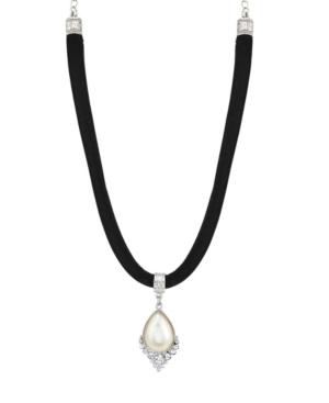 Crystal and Imitation Pearl Teardrop on Velvet Choker Necklace