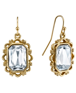 Crystal Rectangle Faceted Drop Earrings