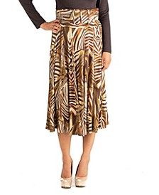 Midi Length Animal Print Skirt With Belt