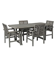 5 Piece Extendable Outdoor Patio Dining Set