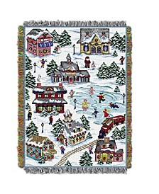 Snowy Holiday Village Tapestry Throw