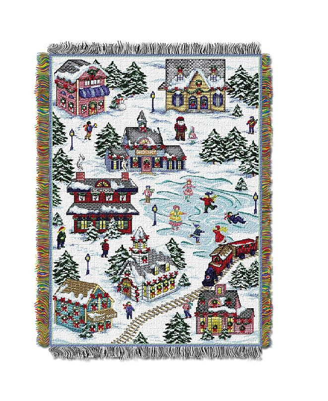 Northwest Company Snowy Holiday Village Tapestry Throw