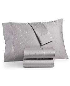 Bergen House Woven Diamond Dot Extra Deep 4-Pc. Queen Sheet Set, 1000-Thread Count 100% Certified Egyptian Cotton
