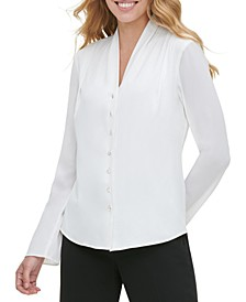V-Neck Button-Up Blouse