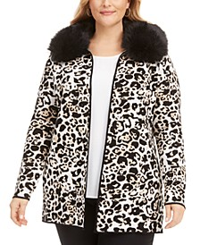 Plus Size Animal-Print Jacquard Cardigan With Faux-Fur Collar