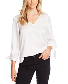 V-Neck Satin Blouse With Tie Sleeves