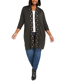 Plus Size Grommet-Trim Open-Front Cardigan