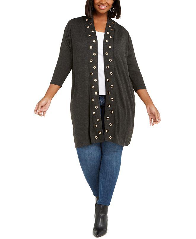 Belldini Plus Size Grommet-Trim Open-Front Cardigan
