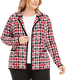 Plus Size Houndstooth-Print Point-Collar Cardigan