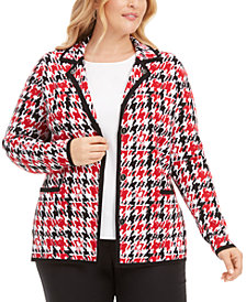 Belldini Plus Size Houndstooth-Print Point-Collar Cardigan