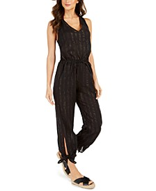 Metallic-Stripe Jumpsuit Cover-Up