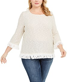 Plus Size Textured Fringed Top