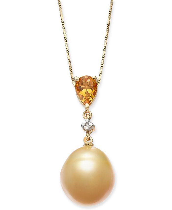 "Macy's - Cultured Baroque Golden South Sea Pearl (12mm), Citrine (5/8 c.t. t.w.) & Diamond (1/20 ct. t.w.) 18"" Pendant Necklace in 14k Gold"