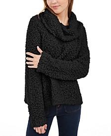 Juniors' Textured Cowl-Neck Sweater